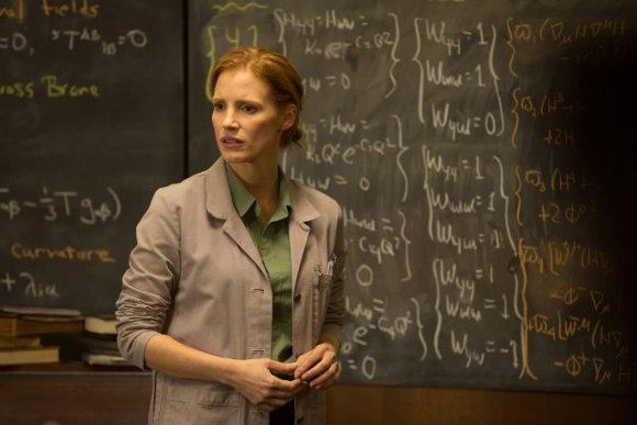 Interstellar - La cara de Jessica Chastain al leer la parte del guión sobre el agujero negro y la biblioteca...