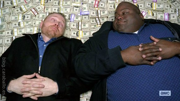 Breaking Bad 5x10. Buried. Kuby y Huell disfrutando de su minuto de gloria.
