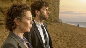 'Broadchurch'. DS Ellie Miller (Olivia Coldman) y David Tennant (DI Alec Hardy)