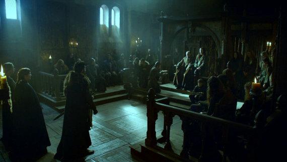 Juego de Tronos - Las Lluvias de Castamere. Walder Frey recibe al Rey en el Norte