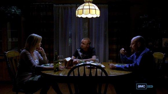 """Skyler, Jesse y Walter. La """"cena en el infierno""""."""