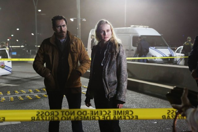 The Bridge. Marco Ruiz (Demian Bichir) y Sonya Cross (Diane Kruger)